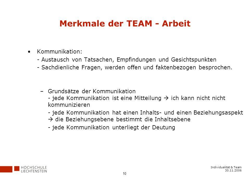 Individualität & Team 30.11.2006 10 Merkmale der TEAM - Arbeit Kommunikation: - Austausch von Tatsachen, Empfindungen und Gesichtspunkten - Sachdienliche Fragen, werden offen und faktenbezogen besprochen.