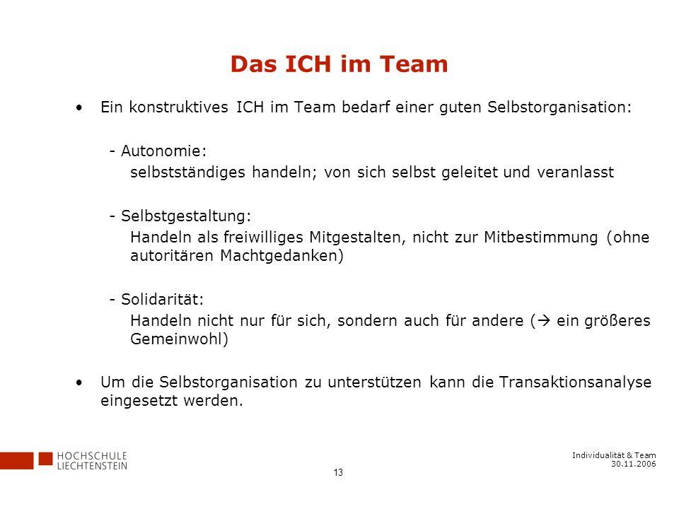 Individualität & Team 30.11.2006 13 Das ICH im Team Ein konstruktives ICH im Team bedarf einer guten Selbstorganisation: - Autonomie: selbstständiges handeln; von sich selbst geleitet und veranlasst - Selbstgestaltung: Handeln als freiwilliges Mitgestalten, nicht zur Mitbestimmung (ohne autoritären Machtgedanken) - Solidarität: Handeln nicht nur für sich, sondern auch für andere ( ein größeres Gemeinwohl) Um die Selbstorganisation zu unterstützen kann die Transaktionsanalyse eingesetzt werden.