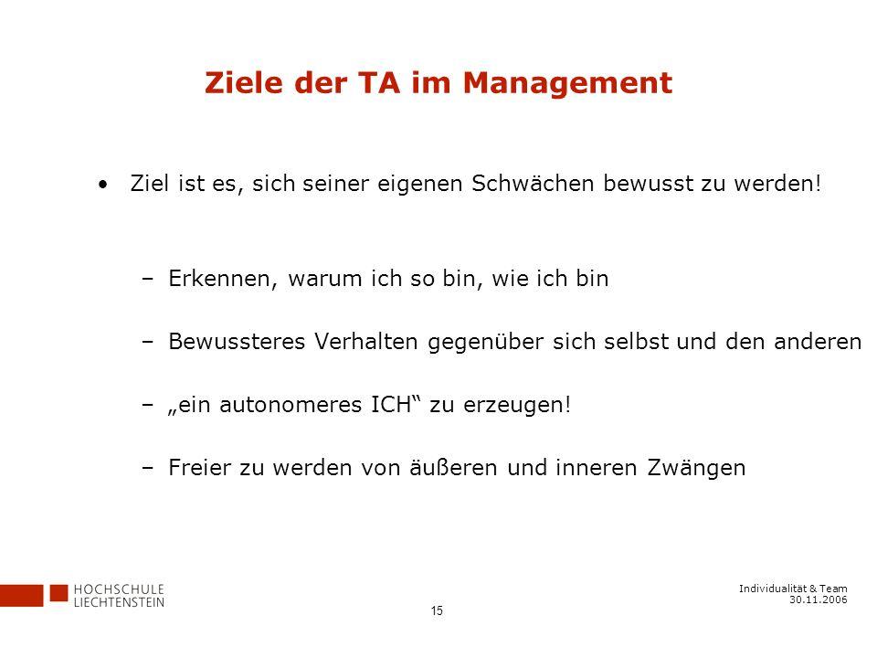 Individualität & Team 30.11.2006 15 Ziele der TA im Management Ziel ist es, sich seiner eigenen Schwächen bewusst zu werden.