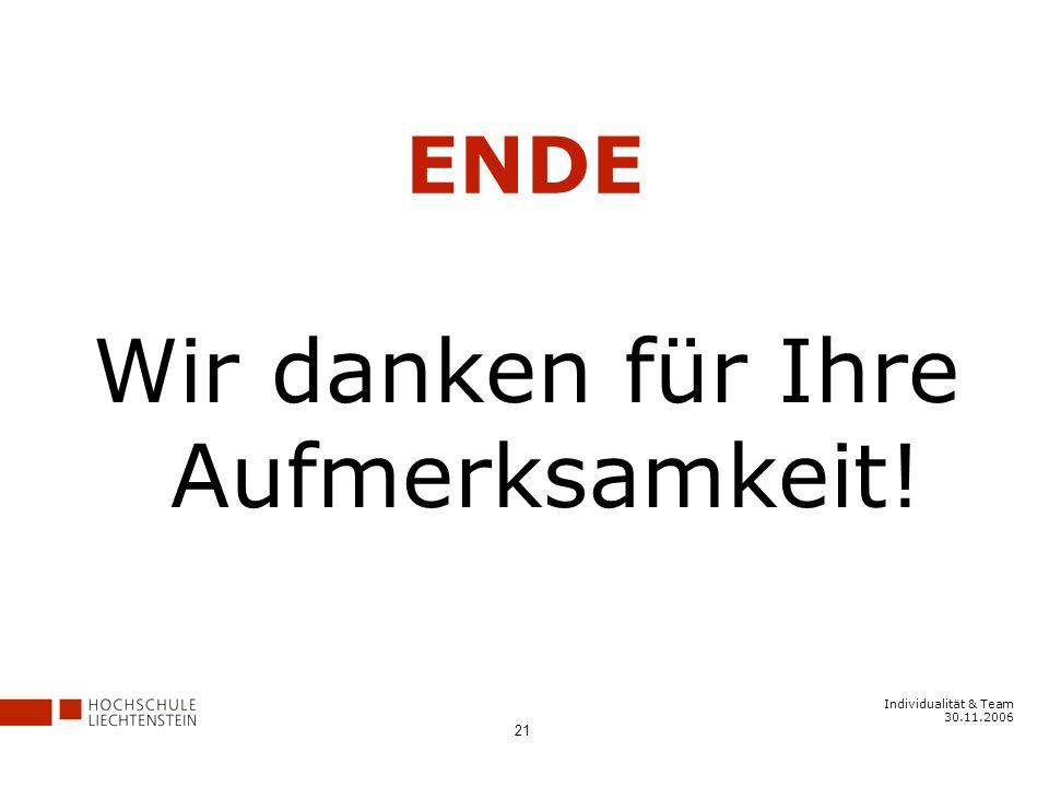 Individualität & Team 30.11.2006 21 ENDE Wir danken für Ihre Aufmerksamkeit!