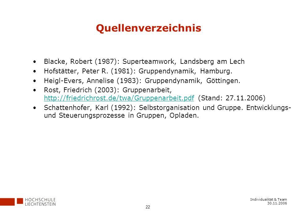Individualität & Team 30.11.2006 22 Quellenverzeichnis Blacke, Robert (1987): Superteamwork, Landsberg am Lech Hofstätter, Peter R.