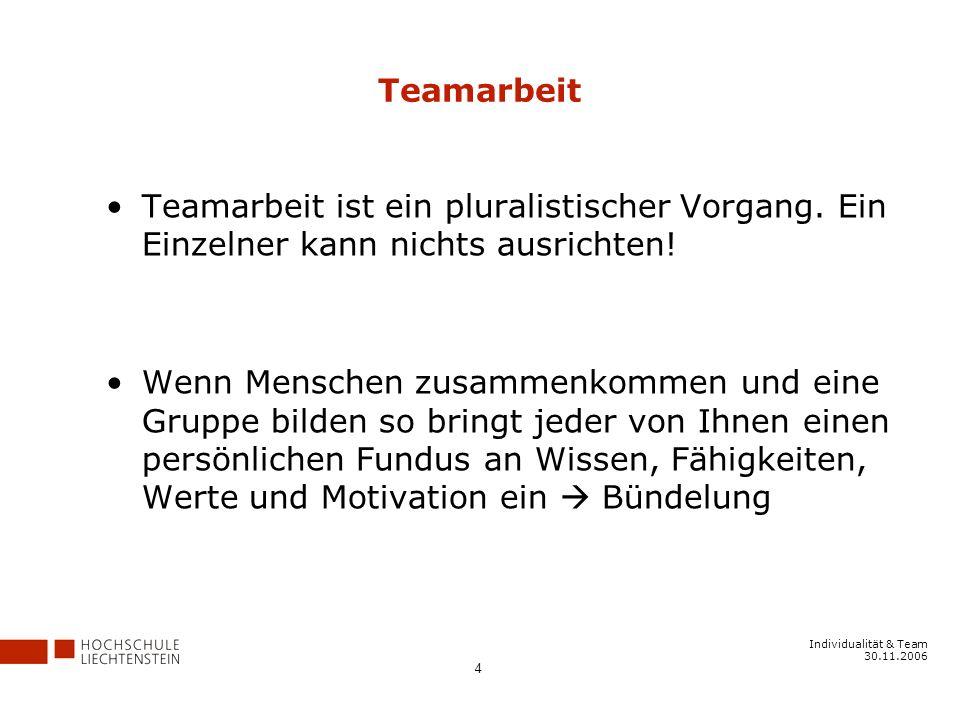 Individualität & Team 30.11.2006 4 Teamarbeit Teamarbeit ist ein pluralistischer Vorgang.