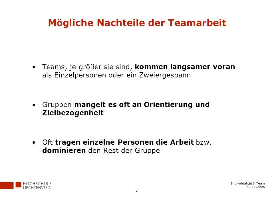 Individualität & Team 30.11.2006 6 Mögliche Nachteile der Teamarbeit Teams, je größer sie sind, kommen langsamer voran als Einzelpersonen oder ein Zweiergespann Gruppen mangelt es oft an Orientierung und Zielbezogenheit Oft tragen einzelne Personen die Arbeit bzw.