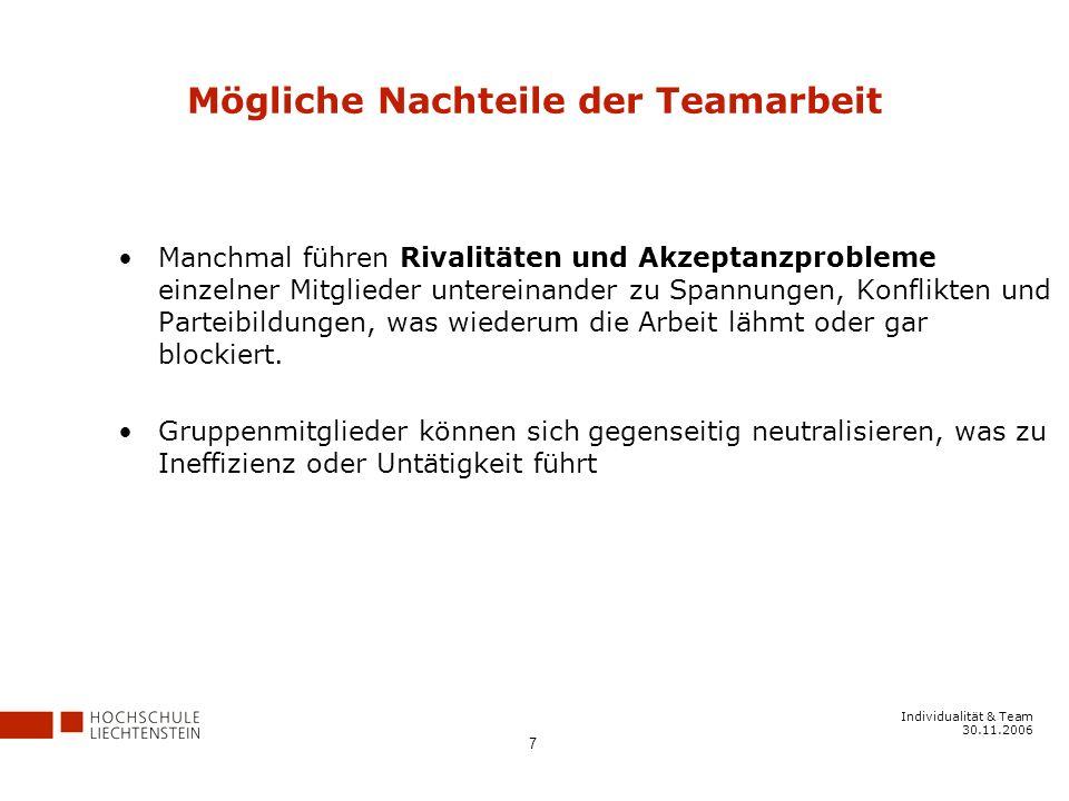 Individualität & Team 30.11.2006 7 Mögliche Nachteile der Teamarbeit Manchmal führen Rivalitäten und Akzeptanzprobleme einzelner Mitglieder untereinander zu Spannungen, Konflikten und Parteibildungen, was wiederum die Arbeit lähmt oder gar blockiert.