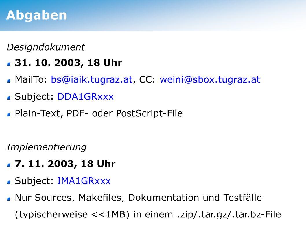 Abgaben Designdokument 31. 10.