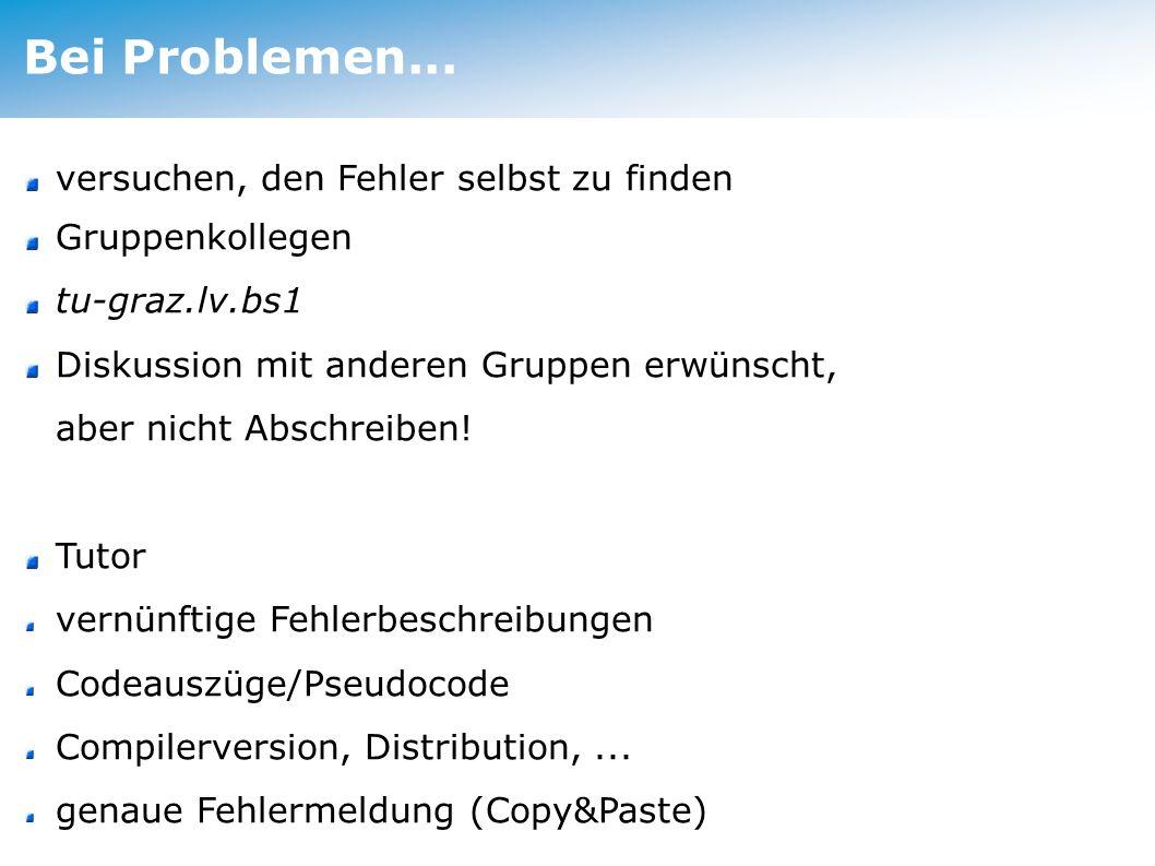 Bei Problemen...
