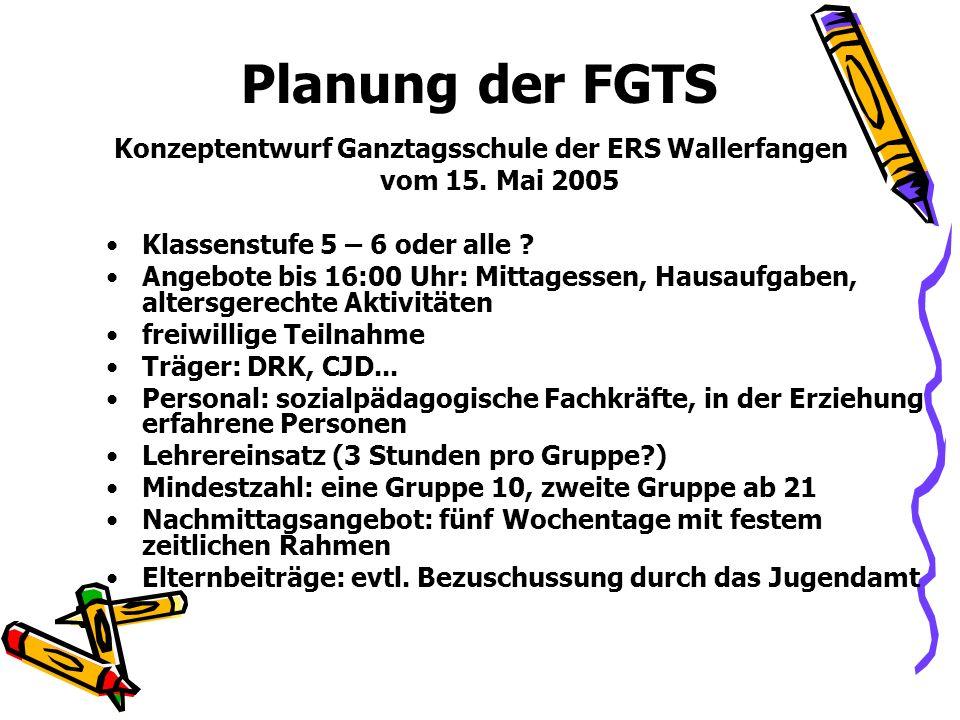 Planung der FGTS Konzeptentwurf Ganztagsschule der ERS Wallerfangen vom 15. Mai 2005 Klassenstufe 5 – 6 oder alle ? Angebote bis 16:00 Uhr: Mittagesse