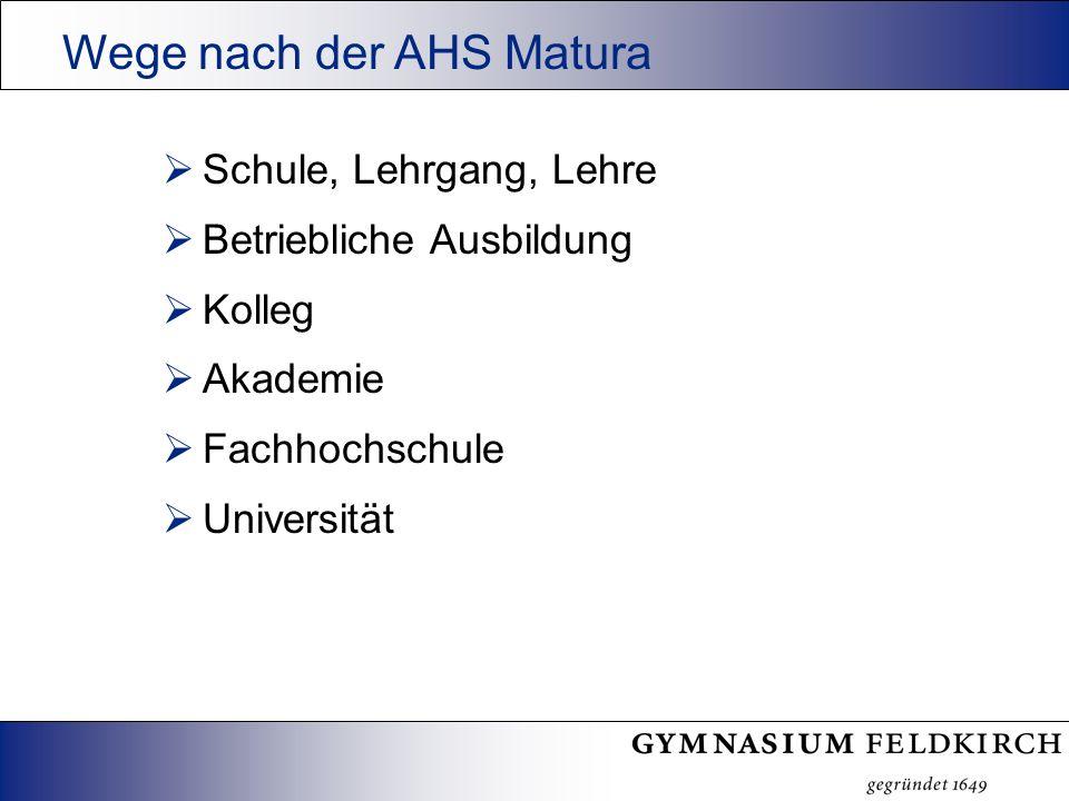 Schule, Lehrgang, Lehre Betriebliche Ausbildung Kolleg Akademie Fachhochschule Universität Wege nach der AHS Matura