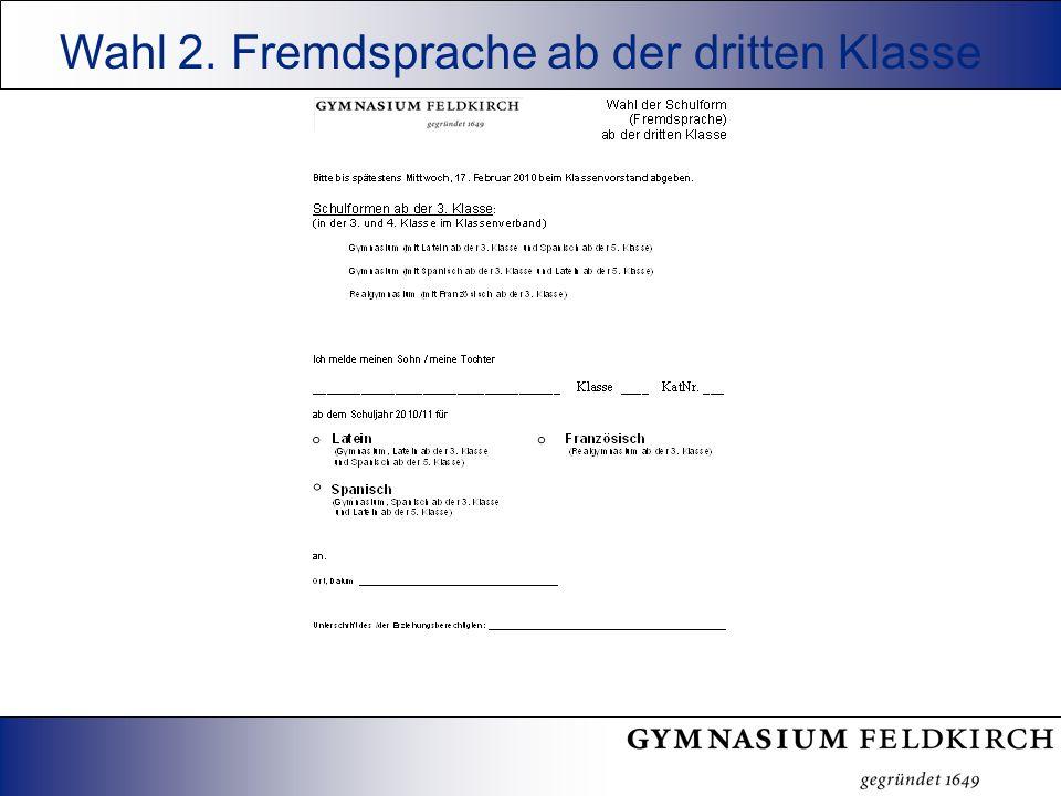 Wahl 2. Fremdsprache ab der dritten Klasse