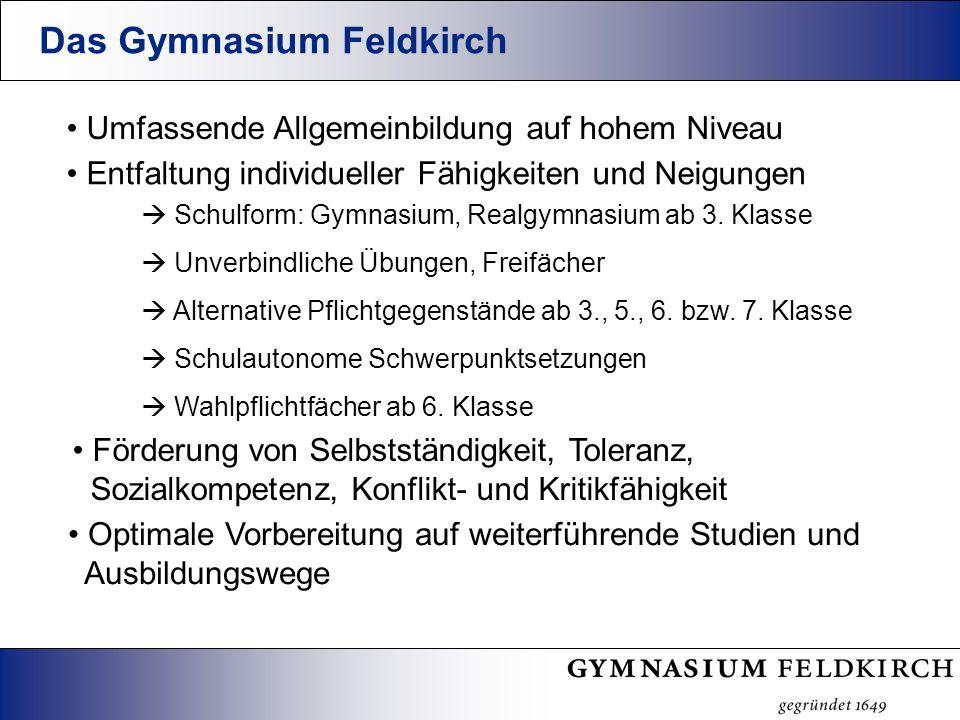 Das Gymnasium Feldkirch Umfassende Allgemeinbildung auf hohem Niveau Optimale Vorbereitung auf weiterführende Studien und Ausbildungswege Schulform: Gymnasium, Realgymnasium ab 3.