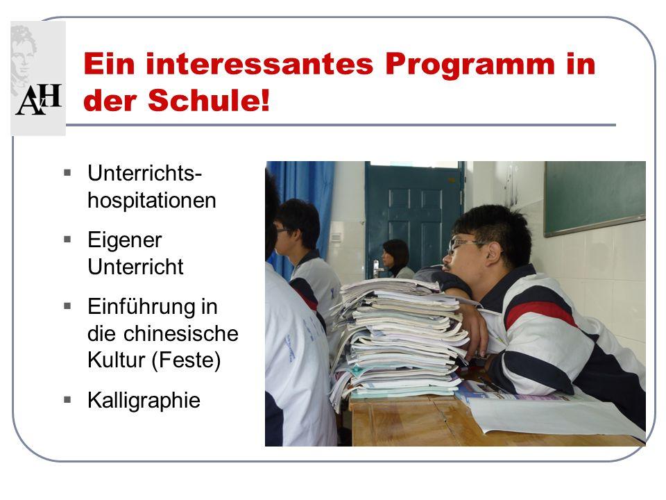 Ein interessantes Programm in der Schule! Unterrichts- hospitationen Eigener Unterricht Einführung in die chinesische Kultur (Feste) Kalligraphie