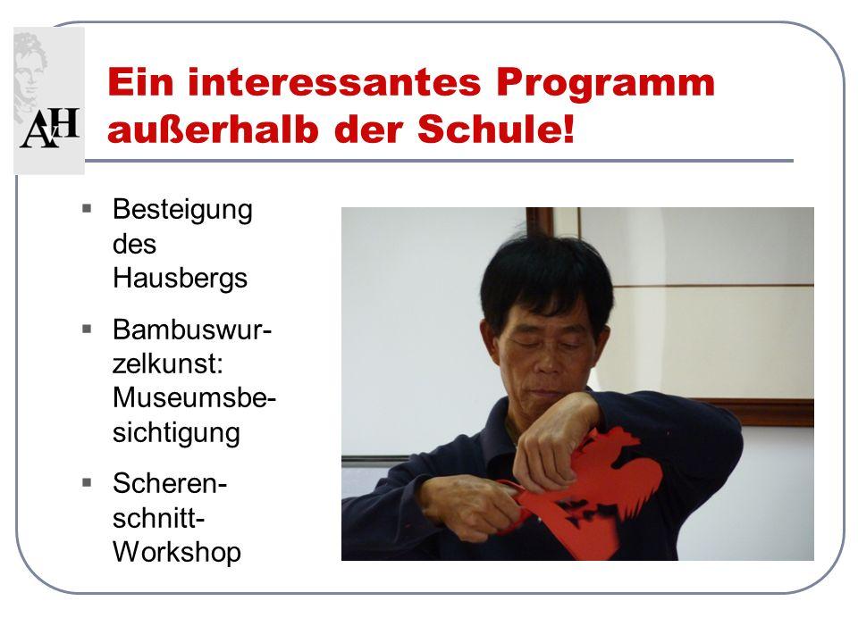Ein interessantes Programm außerhalb der Schule! Besteigung des Hausbergs Bambuswur- zelkunst: Museumsbe- sichtigung Scheren- schnitt- Workshop