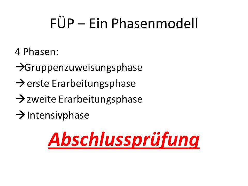 FÜP – Ein Phasenmodell 4 Phasen: Gruppenzuweisungsphase erste Erarbeitungsphase zweite Erarbeitungsphase Intensivphase Abschlussprüfung
