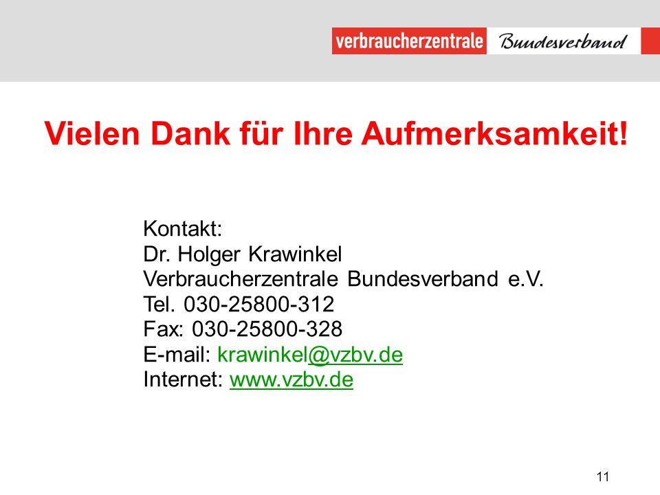 11 Vielen Dank für Ihre Aufmerksamkeit! Kontakt: Dr. Holger Krawinkel Verbraucherzentrale Bundesverband e.V. Tel. 030-25800-312 Fax: 030-25800-328 E-m