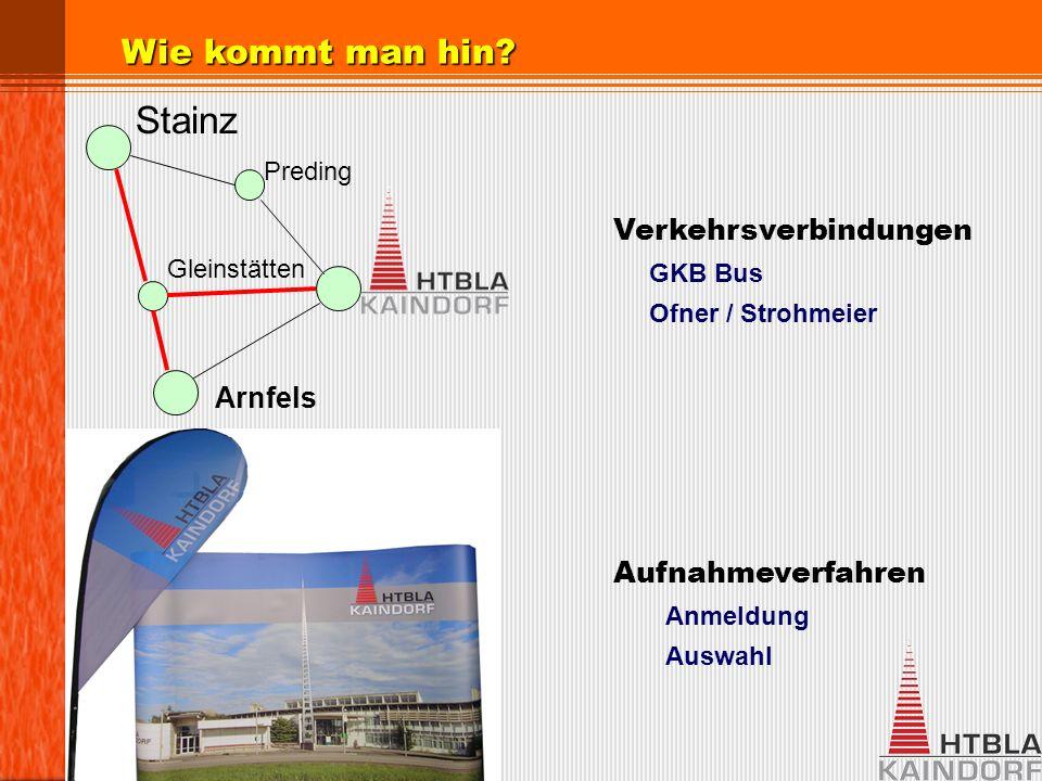Verkehrsverbindungen GKB Bus Ofner / Strohmeier Aufnahmeverfahren Anmeldung Auswahl Wie kommt man hin.
