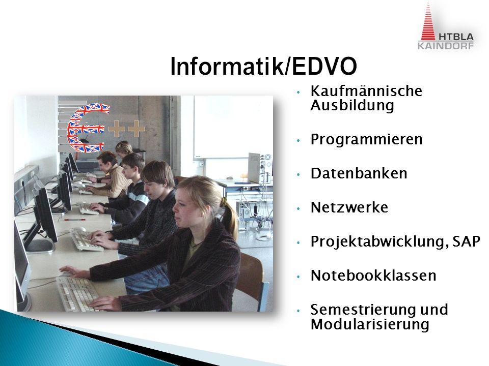 Kaufmännische Ausbildung Programmieren Datenbanken Netzwerke Projektabwicklung, SAP Notebookklassen Semestrierung und Modularisierung