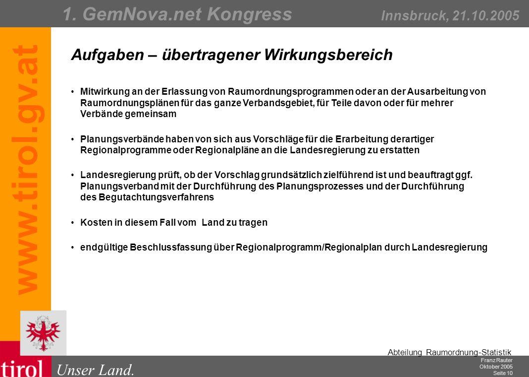 Franz Rauter Oktober 2005 Seite 11 Abteilung Raumordnung-Statistik Unser Land.