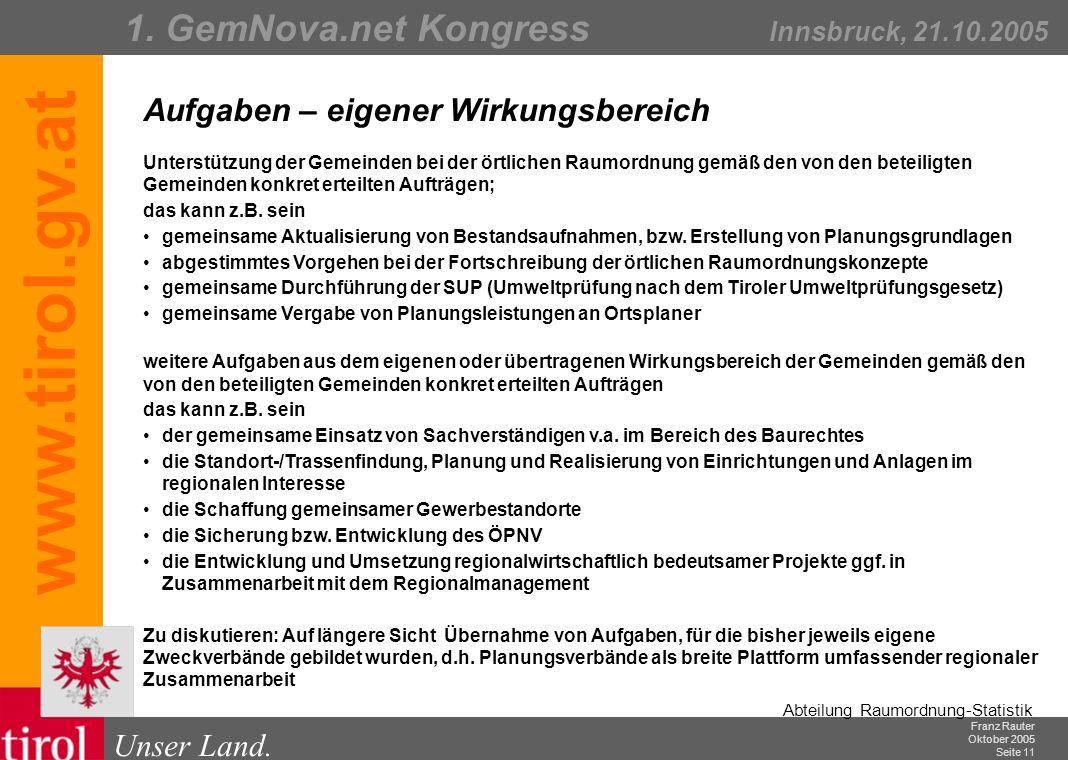 Franz Rauter Oktober 2005 Seite 12 Abteilung Raumordnung-Statistik Unser Land.