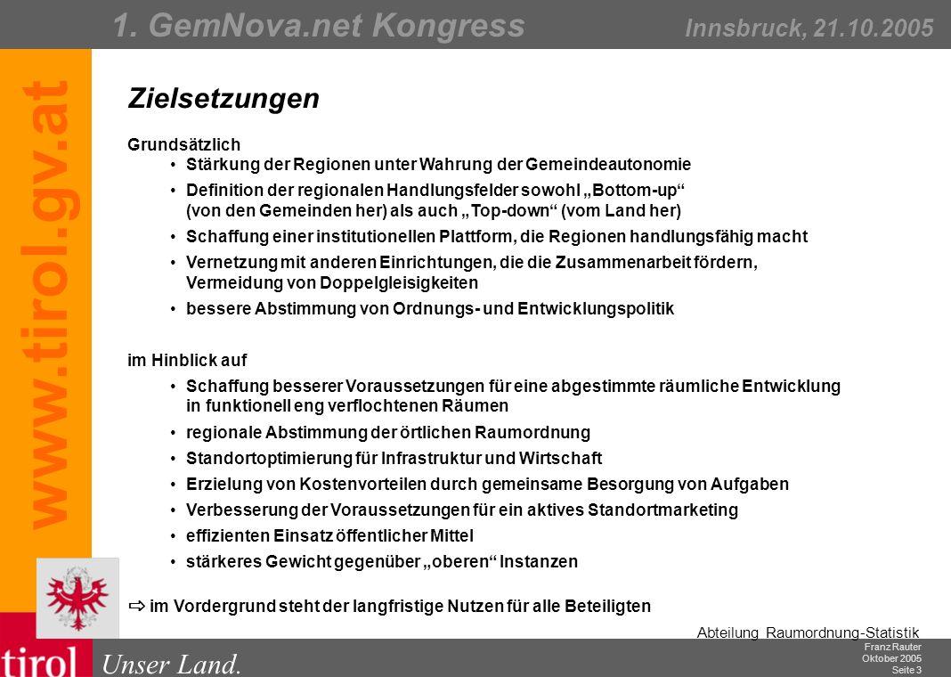 Franz Rauter Oktober 2005 Seite 4 Abteilung Raumordnung-Statistik Unser Land.