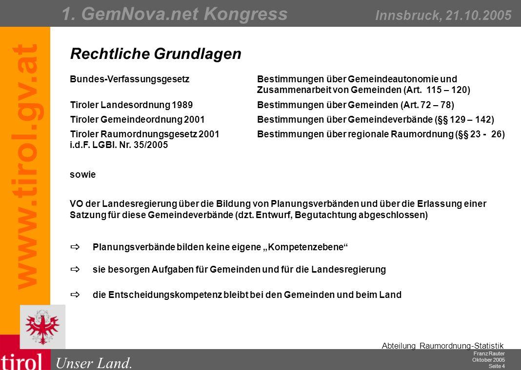 Franz Rauter Oktober 2005 Seite 5 Abteilung Raumordnung-Statistik Unser Land.