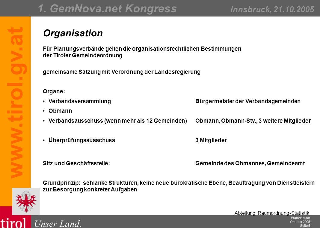 Franz Rauter Oktober 2005 Seite 6 Abteilung Raumordnung-Statistik Unser Land.
