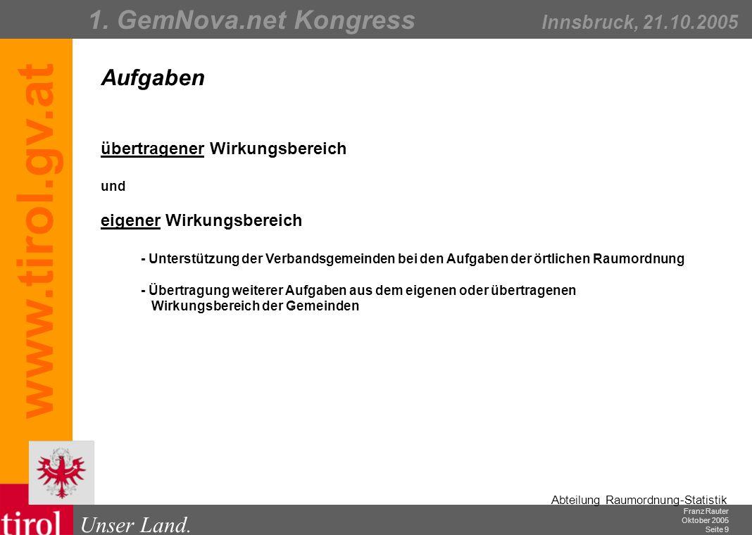 Franz Rauter Oktober 2005 Seite 10 Abteilung Raumordnung-Statistik Unser Land.