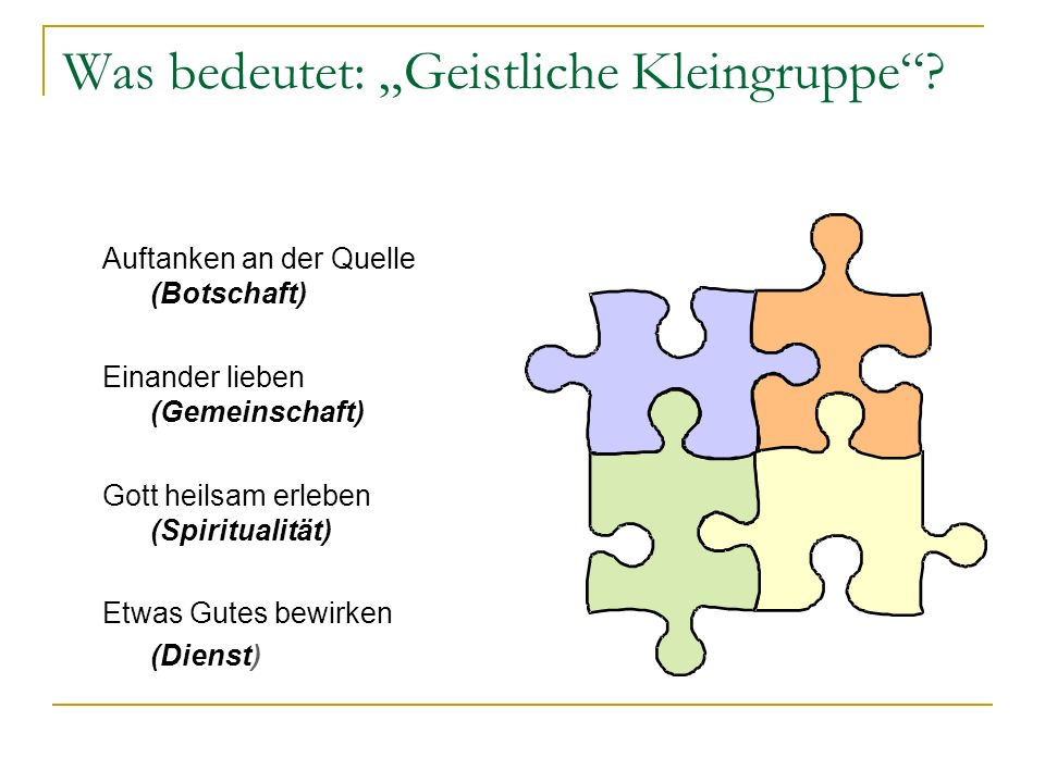 Warum Kleingruppenarbeit? Kleingruppen sind der erste Atem der Kirche (Hans-Hermann Pompe).