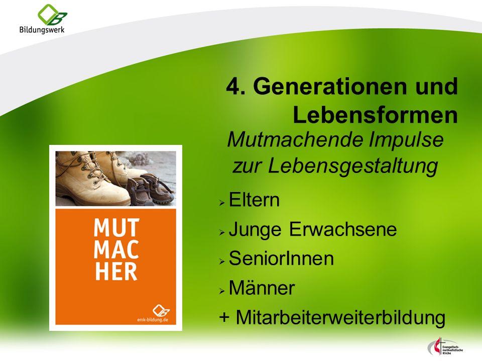 4. Generationen und Lebensformen Mutmachende Impulse zur Lebensgestaltung Eltern Junge Erwachsene SeniorInnen Männer + Mitarbeiterweiterbildung