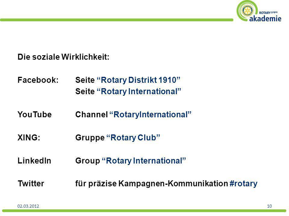 Die soziale Wirklichkeit: Facebook:Seite Rotary Distrikt 1910 Seite Rotary International YouTubeChannel RotaryInternational XING:Gruppe Rotary Club Li