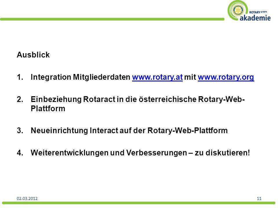 Ausblick 1.Integration Mitgliederdaten www.rotary.at mit www.rotary.orgwww.rotary.atwww.rotary.org 2.Einbeziehung Rotaract in die österreichische Rota