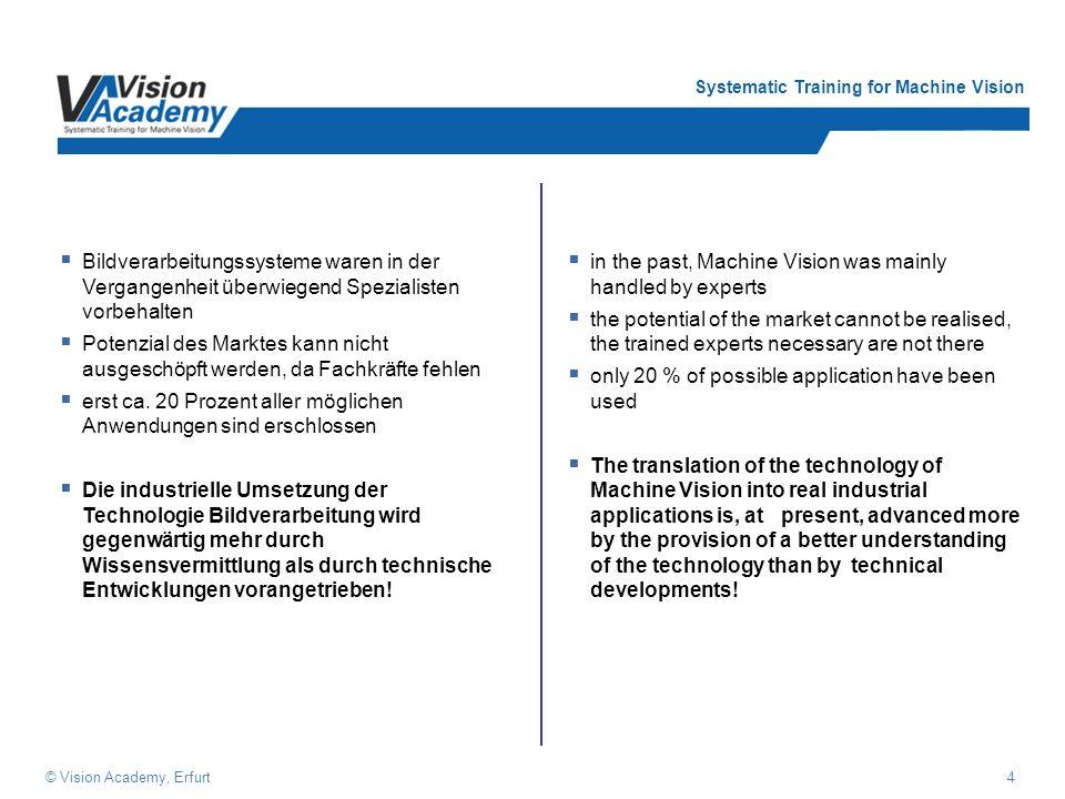 Systematic Training for Machine Vision 4© Vision Academy, Erfurt Bildverarbeitungssysteme waren in der Vergangenheit überwiegend Spezialisten vorbehalten Potenzial des Marktes kann nicht ausgeschöpft werden, da Fachkräfte fehlen erst ca.