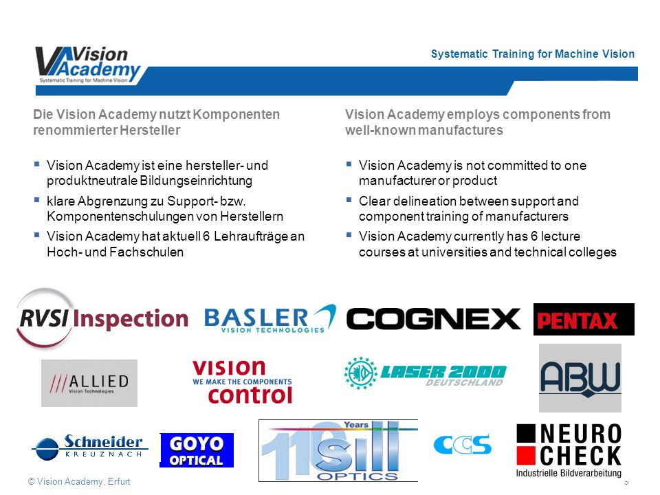 Systematic Training for Machine Vision 9© Vision Academy, Erfurt Die Vision Academy nutzt Komponenten renommierter Hersteller Vision Academy ist eine hersteller- und produktneutrale Bildungseinrichtung klare Abgrenzung zu Support- bzw.