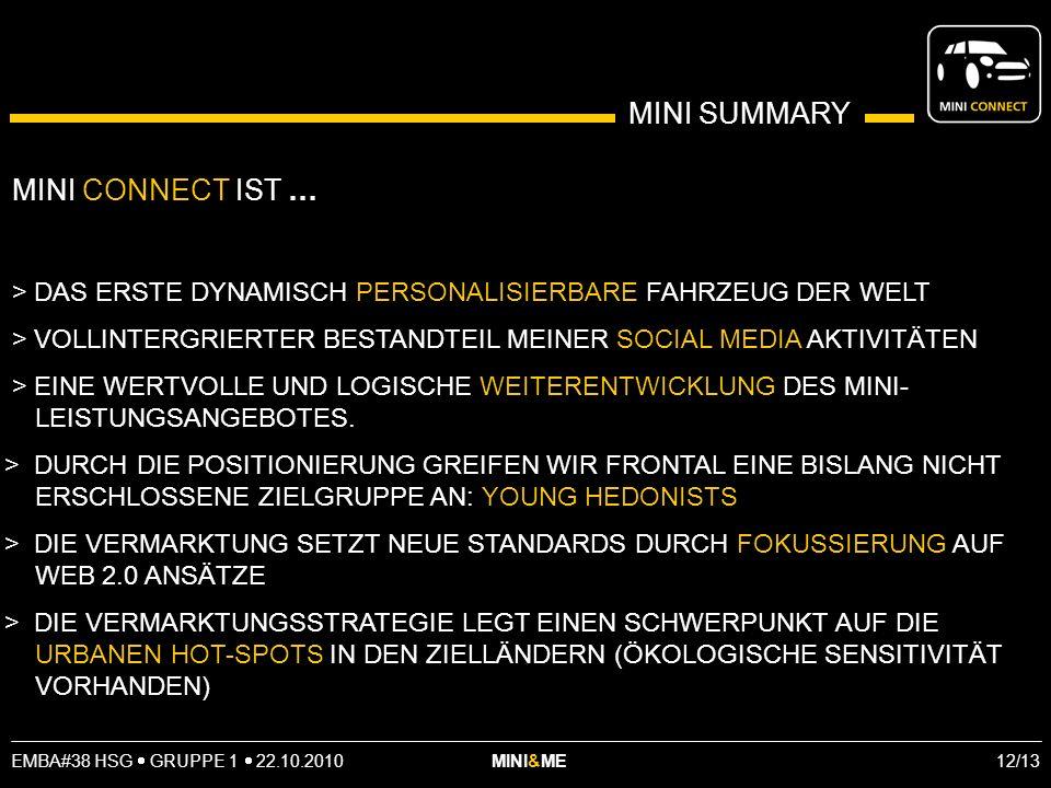 EMBA#38 HSG GRUPPE 1 22.10.2010 MINI&ME 12/13 MINI SUMMARY MINI CONNECT IST … > DAS ERSTE DYNAMISCH PERSONALISIERBARE FAHRZEUG DER WELT > VOLLINTERGRIERTER BESTANDTEIL MEINER SOCIAL MEDIA AKTIVITÄTEN > EINE WERTVOLLE UND LOGISCHE WEITERENTWICKLUNG DES MINI- LEISTUNGSANGEBOTES.
