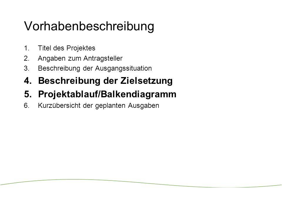 4 Vorhabenbeschreibung Titel des Projektes Angaben zum Antragsteller Beschreibung der Ausgangssituation Beschreibung der Zielsetzung Projektablauf/Balkendiagramm Kurzübersicht der geplanten Ausgaben