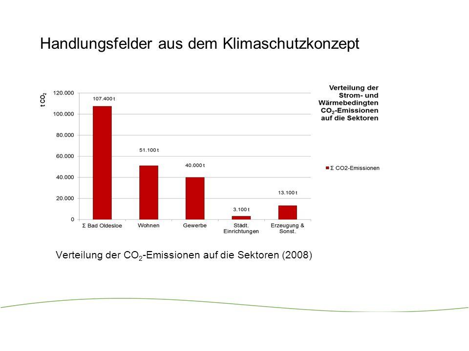 8 Handlungsfelder aus dem Klimaschutzkonzept Verteilung der CO 2 -Emissionen auf die Sektoren (2008)