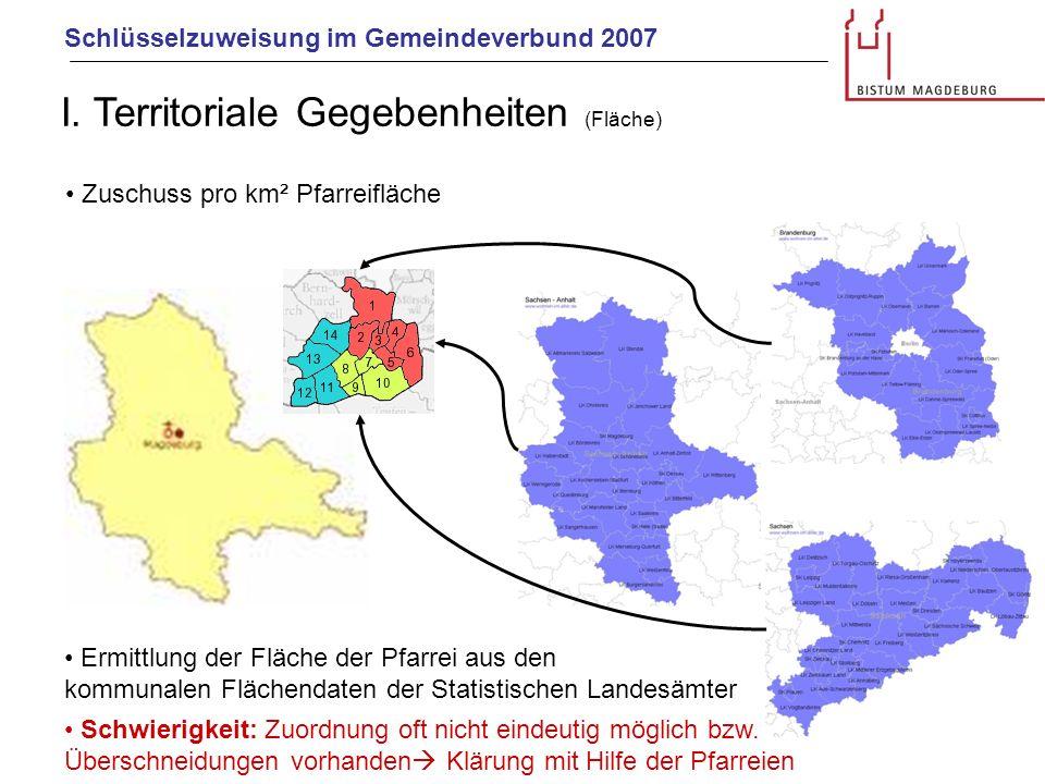 Schlüsselzuweisung im Gemeindeverbund 2007 I. Territoriale Gegebenheiten (Fläche) Ermittlung der Fläche der Pfarrei aus den kommunalen Flächendaten de