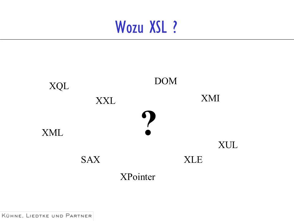 XSL-Familie XSL Transformation ( XSLT ) http://www.w3.org/TR/xslt XML Path Language ( XPath ) http://www.w3.org/TR/xpath Formatting Objects ( FO ) http://www.w3.org/TR/xsl