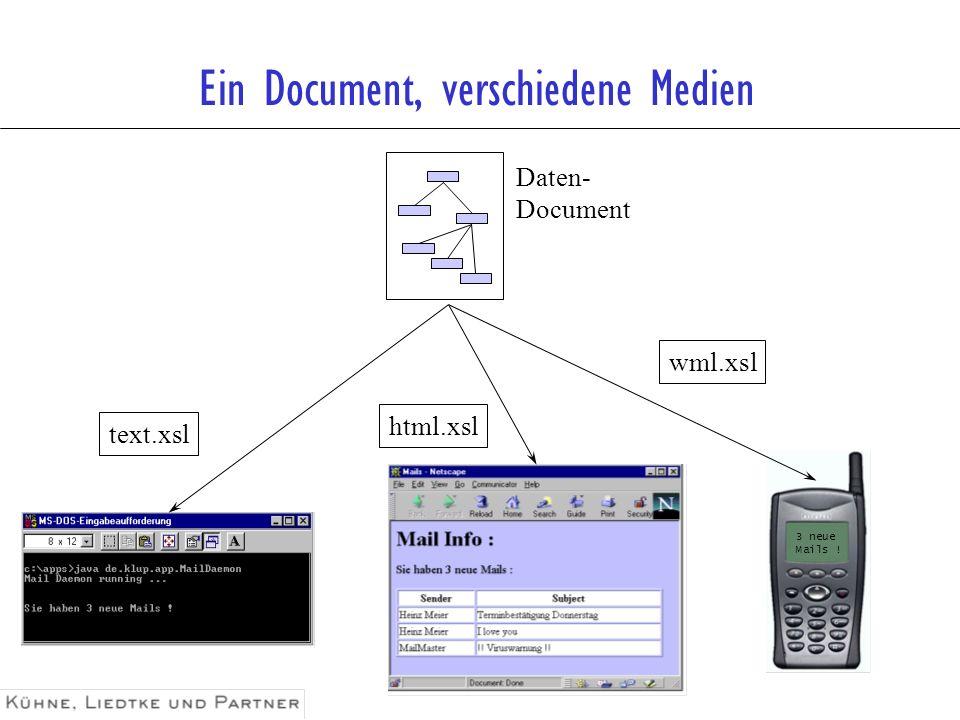 Ein Document, verschiedene Medien 3 neue Mails ! Daten- Document text.xsl html.xsl wml.xsl