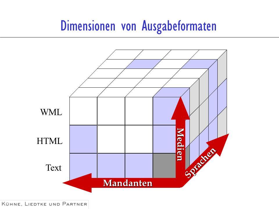 Sprachen Medien Mandanten Dimensionen von Ausgabeformaten Text HTML WML