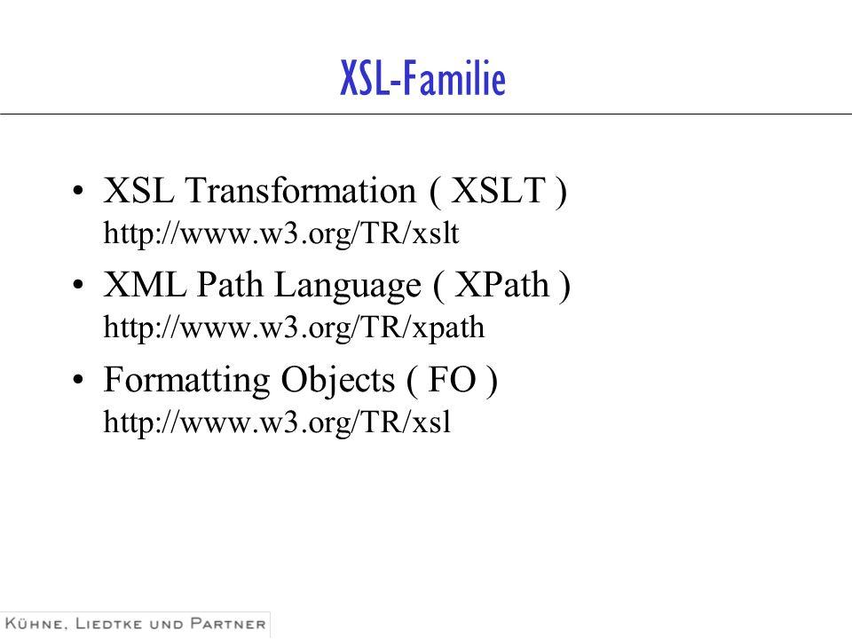 Einige XSLT Parser Xalan –C++ und Java-Versionen –http://www.apache.org Microsoft XMLParser –http://msdn.microsoft.com/downloads/tools/xmlparser/xmlparser.asp XSL:P –Java mit ECMAScript-Einbettung –http://www.clc-marketing.com/xslp The XML Cover Pages –Übersicht über Parser, Tools, Newsgroups usw.