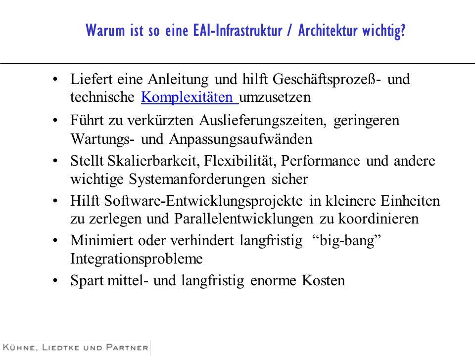 Warum ist so eine EAI-Infrastruktur / Architektur wichtig? Liefert eine Anleitung und hilft Geschäftsprozeß- und technische Komplexitäten umzusetzen F