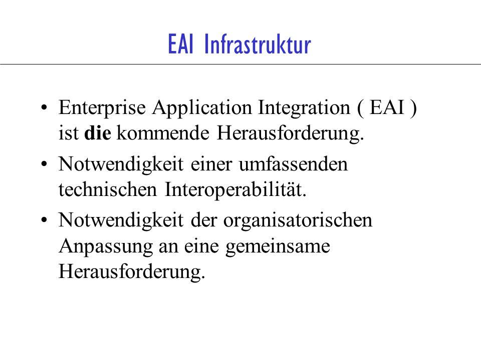 EAI Infrastruktur Enterprise Application Integration ( EAI ) ist die kommende Herausforderung. Notwendigkeit einer umfassenden technischen Interoperab