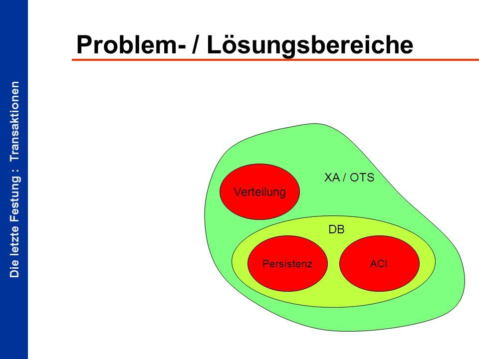Die letzte Festung : Transaktionen Problem- / Lösungsbereiche Persistenz Verteilung ACI DB XA / OTS