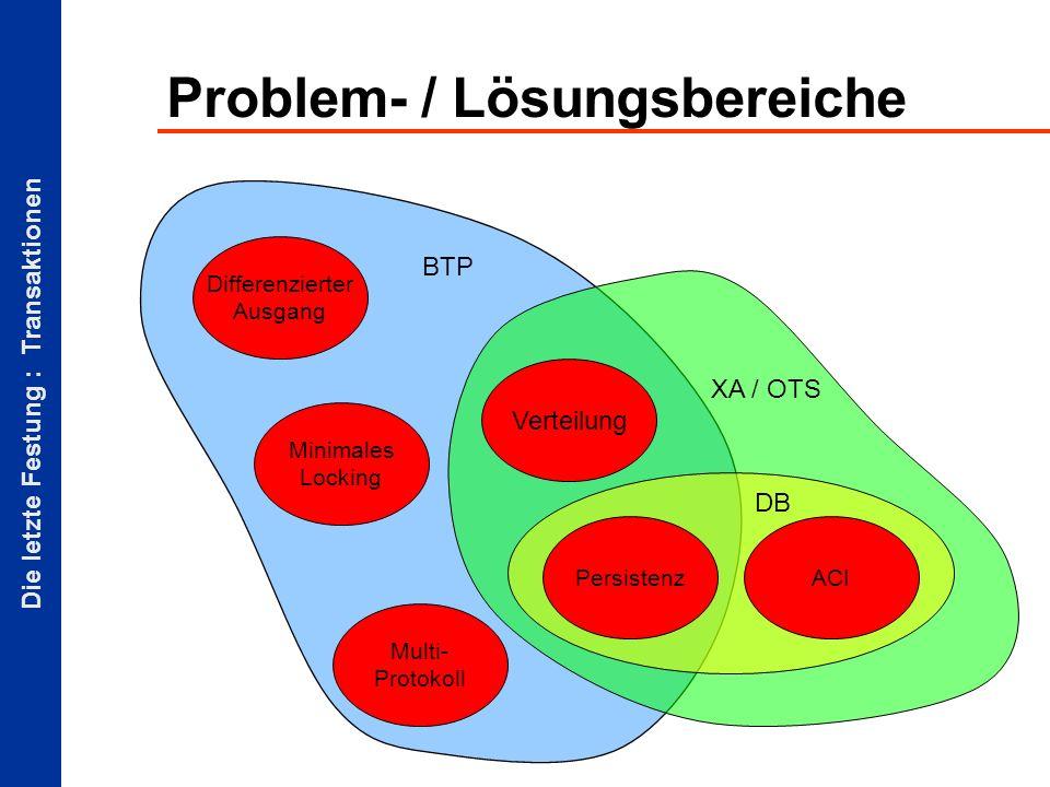 Die letzte Festung : Transaktionen Problem- / Lösungsbereiche Persistenz Verteilung Differenzierter Ausgang Multi- Protokoll Minimales Locking ACI DB XA / OTS BTP