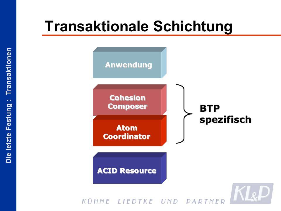 Die letzte Festung : Transaktionen Transaktionale Schichtung Anwendung Cohesion Composer Atom Coordinator ACID Resource BTP spezifisch