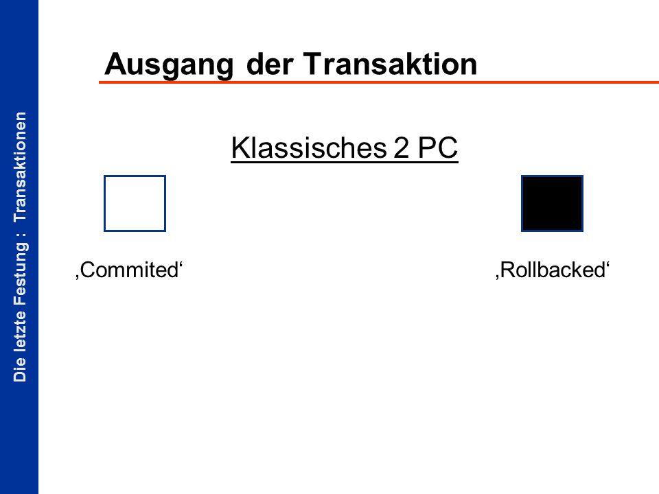 Die letzte Festung : Transaktionen Ausgang der Transaktion CommitedRollbacked Klassisches 2 PC