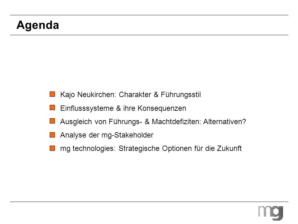 Agenda Kajo Neukirchen: Charakter & Führungsstil Einflusssysteme & ihre Konsequenzen Ausgleich von Führungs- & Machtdefiziten: Alternativen? Analyse d