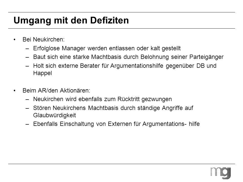 Umgang mit den Defiziten Bei Neukirchen: –Erfolglose Manager werden entlassen oder kalt gestellt –Baut sich eine starke Machtbasis durch Belohnung sei