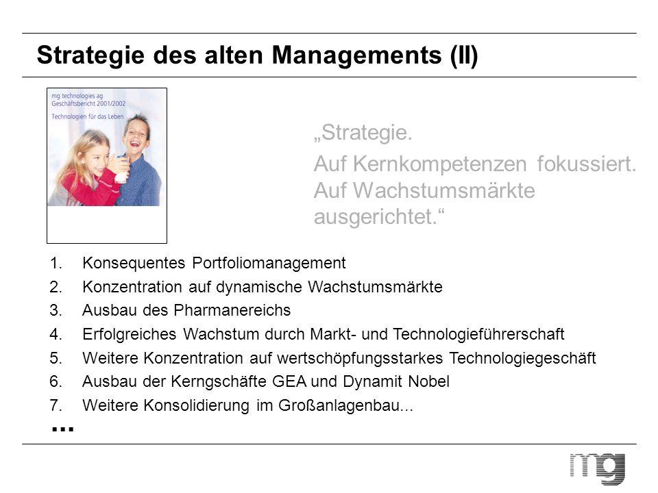 Strategie des alten Managements (II) Strategie. Auf Kernkompetenzen fokussiert. Auf Wachstumsmärkte ausgerichtet. 1.Konsequentes Portfoliomanagement 2