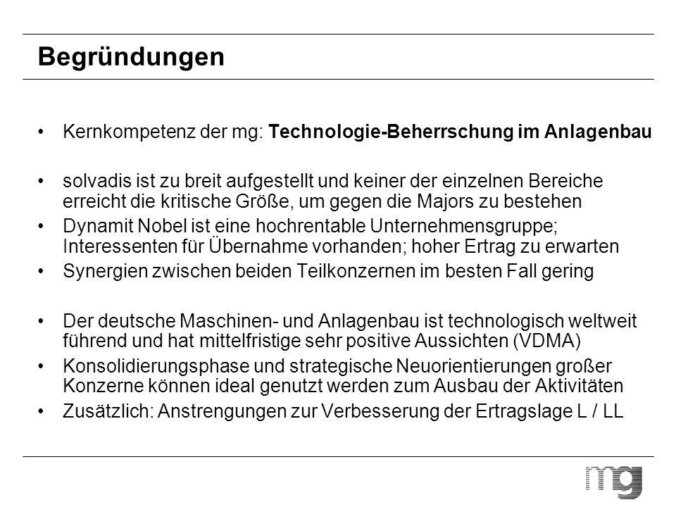 Begründungen Kernkompetenz der mg: Technologie-Beherrschung im Anlagenbau solvadis ist zu breit aufgestellt und keiner der einzelnen Bereiche erreicht